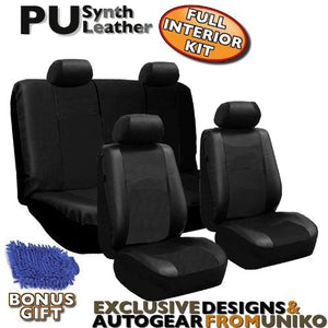Full Set Pu LEATHER Universal Synthetic 10pc Car Seat Covers Black Color Free BONUS DETAILING WASH MITT & AIR FRESHENER