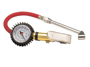 "Dually Tire Inflator Gauge Dual Chuck Nozzle Design Reaches Inner Wheel Stems (2"" Oversized Protected Gauge Reader)"