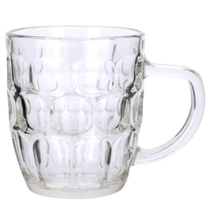 Set of 4 Dimple Stein German Irish Beer Glass Mug With Large Handle -16 oz Clear