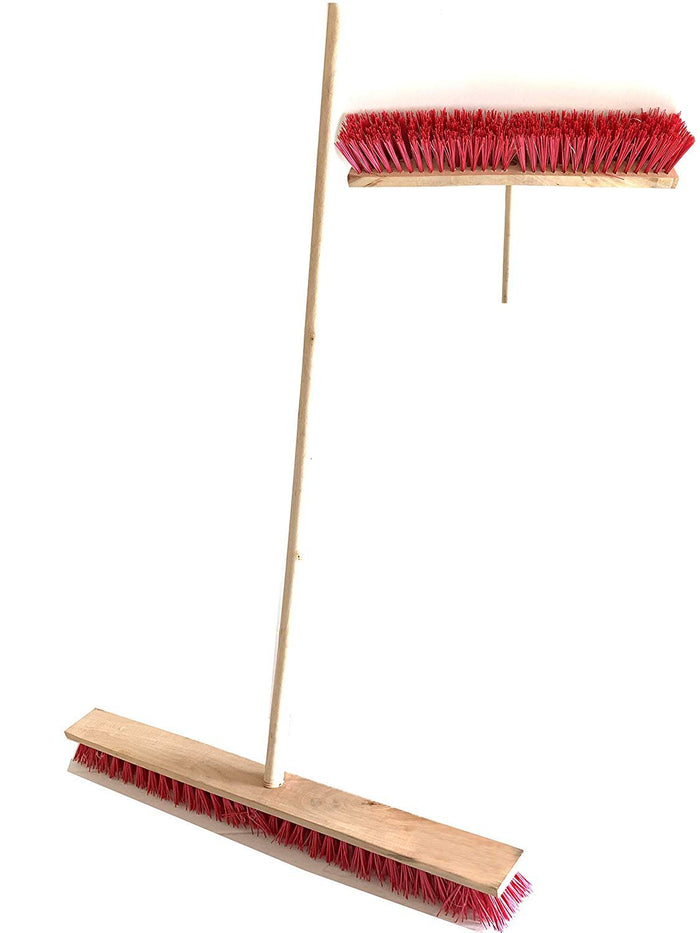 Multi Surface Heavy Duty Industrial Push Broom Rough Surface Sweeper Brush with Stiff Bristles Handle - Warehouse & Contractors, Lawn & Garden, Indoor Outdoor (Red)