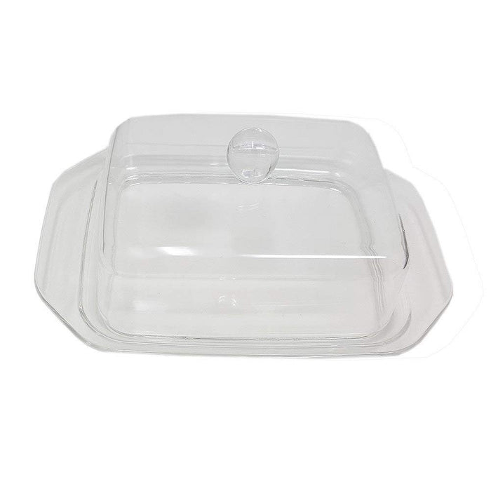 Butter Dish Acrylic With Clear Cover Knob Plastic Tray Unique Design