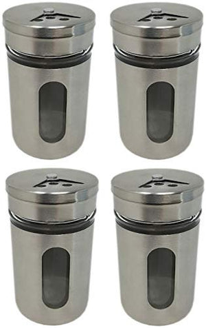 "Stainless Steel Glass Spice Jar Bottles - Multiple sets 3.14"" Visual Transparent Window Rotate Open Close Holes Round Airtight Cap Pour Shaker Insert Lid(2)"