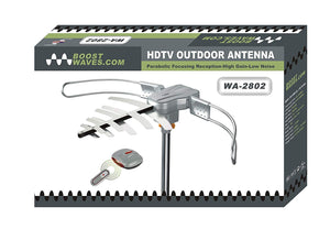 Boostwaves WA-2802 Amplified HD Digital Outdoor HDTV Antenna with Motorized 360° Rotation, UHF/VHF/FM Radio with Infrared Remote Control for 2 TVs -Installation Kit