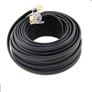 BoostWaves 100' Foot Black Telephone Extension Cord Cable Line Wire RJ-11