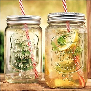 Set of 4 Vintage Styled Mason Lidded Drinking Jars with Straws - Serve Ice Cold Drinks The Old Fashioned Way & Up your Game!