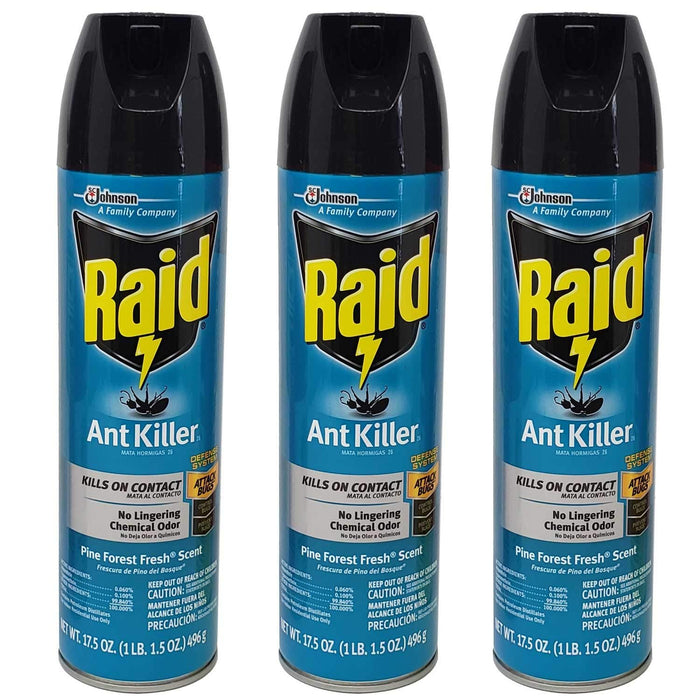 Lavo Home 3 Pack Raid Ant and Roach Bug Insect Killer-Pine Forest Fresh Scent, 17.5 OZ