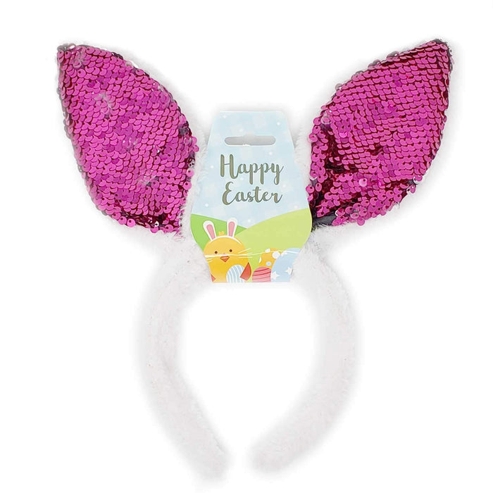 Easter Bunny Rabbit Ears Costume Fur Headband For Kids Girls Adults Birthday Party Supplies Favors-Pink Sequins