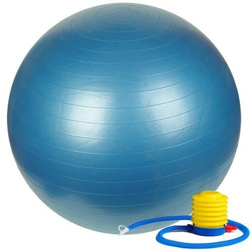 Fitness Sun 55cm Exercise Ball with Foot Pump - Includes 1 Ball +1 Pump + 1 Page Instruction Chart No Dvd - No -Exercise Gym Swiss Stability Ball