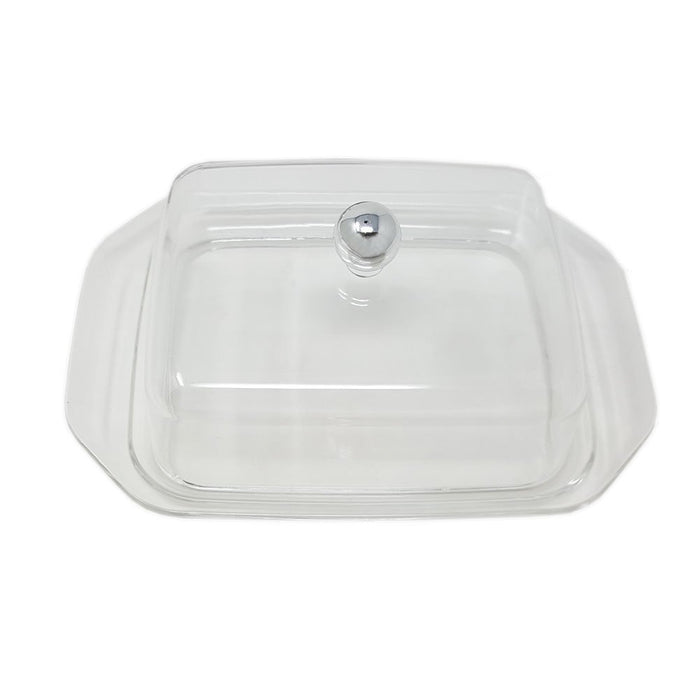 Contemporary Butter Dish & Cheese Tray Acrylic With Steel Knob Modern Design - Keeps Butter Fresh