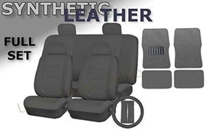 Deluxe Leatherette Full Set 17 Piece Car Seat Covers Double Stitched - Front Rear Steering Wheel Set - 4 Piece Floor Mats (Grey Leatherette)
