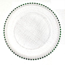 Load image into Gallery viewer, 13 Inch Green Beaded Rim Clear Glass Charger Plates (8)
