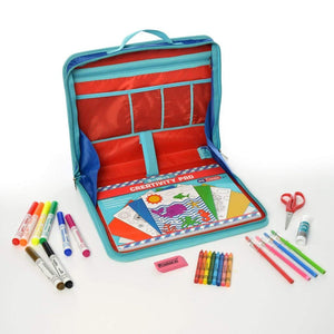 Kids Children Activity Kit Case Laptop Style Desk Writing Craft Accessories 2 Styles 30 64 Piece Pockets Easy Carry For Home Travel School Scissors Paper Crayons Markers Coloring Book (30 Piece Set)