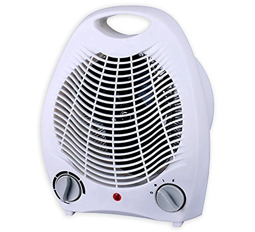 Premium 2 in 1 Portable Fan Heater Adjustable Thermostat White Electric Indoor