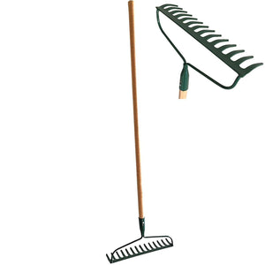 Set of 2 Garden Bow Rake Wood Handle Landscape Cultivator Gardening Tool Leveling Mulch peat Moss and Loose Heavy soils Long Handle Sweep Fall Leaves No Bending Easy Grip (Metal Rake)