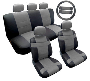 Two Tone Premium Gray on Black Synthetic PU Faux Leather Seat Cover Set 14pc For Kia Soul