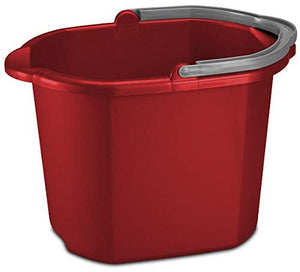 16 Quart 15L Heavy Duty Sturdy Dual Spout Rectangular Pail Bucket Organizer Household Cleaning Supplies Projects Mopping Storage Comfortable Durable Grip Pour Handle-Red (6)