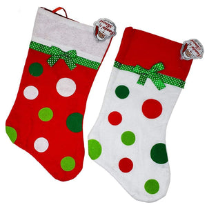 Christmas Stockings with Round Polka Dots - for Holiday Season (Set of 2)