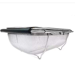 Premium Quality Stainless Steel Large Over the Sink Mesh Kitchen Strainer Colander Expandable Adjustable Rubber Grip Handles,Dishwasher Safe for Rinse Drain Strain Fruits, Vegetables, Pasta,Greens