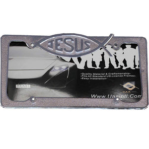 Jesus Chrome License Plate Tag Frame