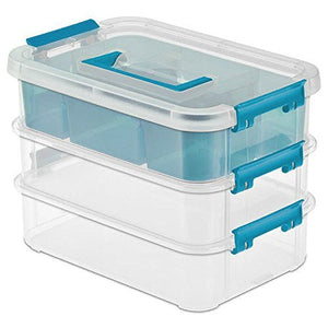 Stack and Carry 3 Layer Handle Box Clear With Blue Handle Storage Holder Bin