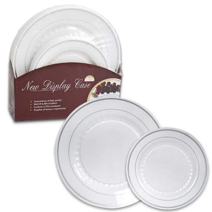 "Diamond Quality Plastic Dinner Dessert Plates Set | 30 Pieces | 15 Large 10.25"" & 15 Small 7.5"" Plates, Dessert Salad Snack Dinner Plates For Party Catering Holiday Christmas Wedding 