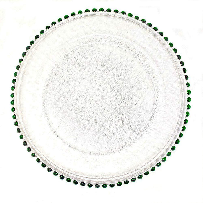 13 Inch Green Beaded Rim Clear Glass Charger Plates (8)
