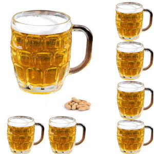 Set of 6 Dimple Stein German Irish Beer Glass Mug With Large Handle -16 oz Clear