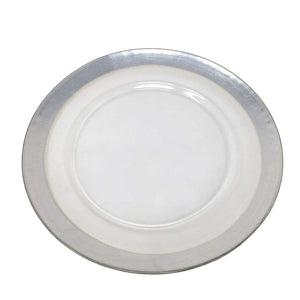 Silver Rim Glass 13 Inch Formal Charger Plate