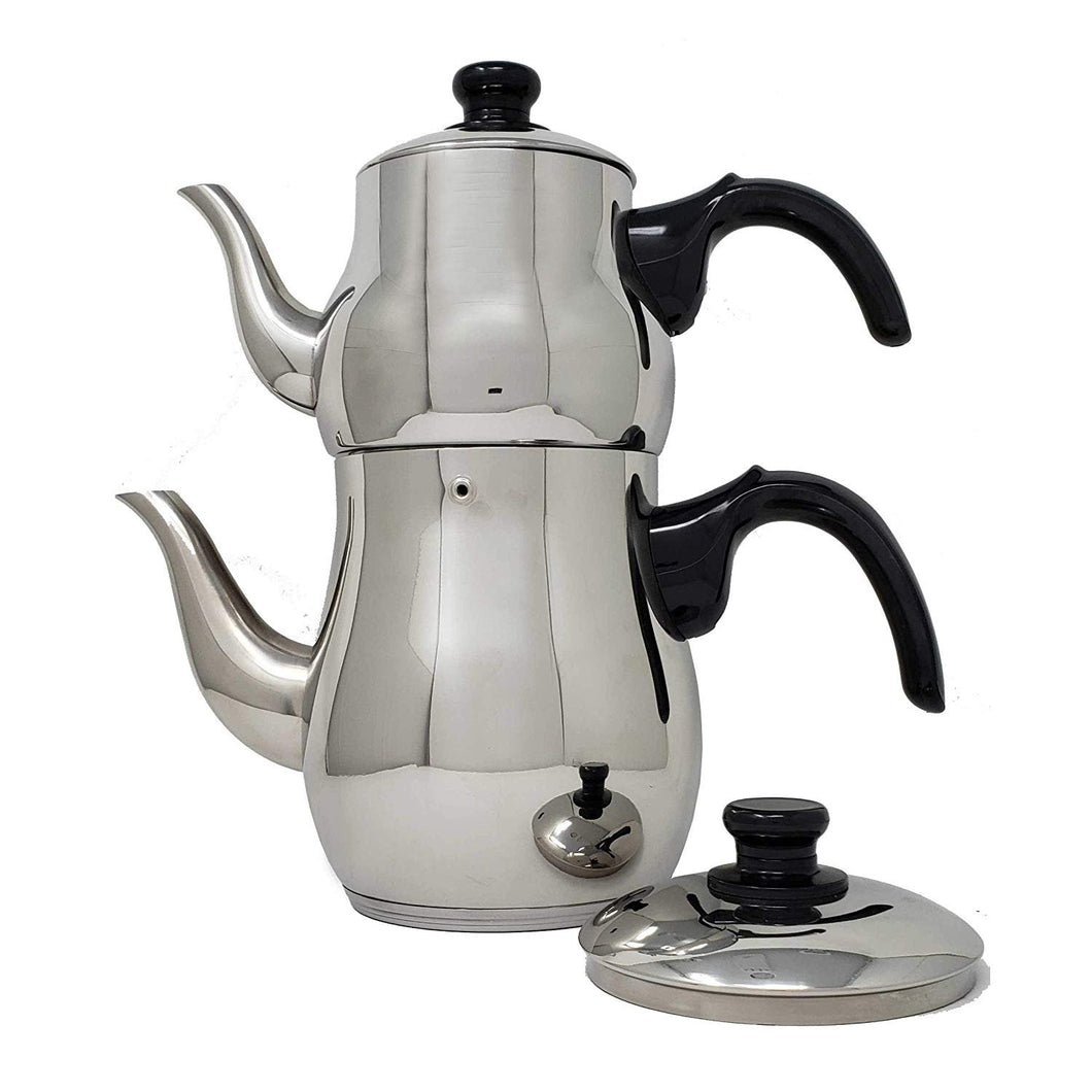 Turkish Samovar Double Tea Pot Kettle Water Boiler with Strainer (1 and 3 Liter)
