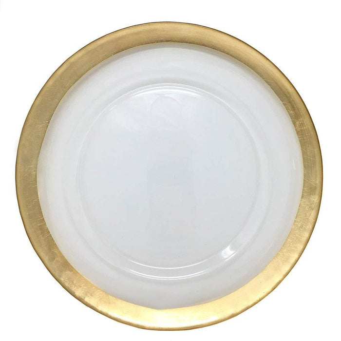 Spectacular Glass Dinnerware Formal 13-Inch Gold Colored Edge Rim Clear Glass Charger Plate Wedding Party Dinner Modern Appeal Glass Plates (24)