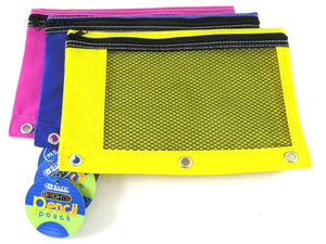 Bright Color 3-Ring Pencil Pouch-Mesh Window, Girls