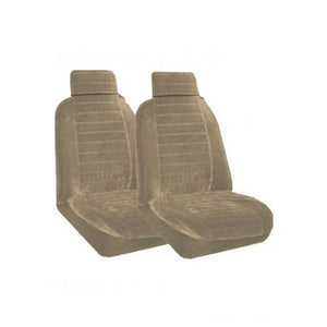 Set of 2 Universal Fit Low Back Regal Pattern Front Bucket Seat Cover - Sand