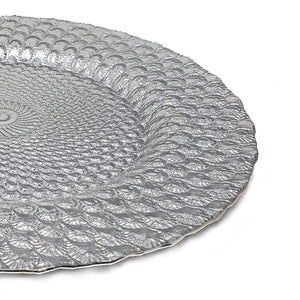 "Elegant Classy Royal Shiny Silver Seashell Embossed Glass Dinnerware 13"" Round Charger Plate for Home Restaurant Kitchen Professional Holiday Decor Accent Dinner Plates Christmas Thanksgiving (2)"