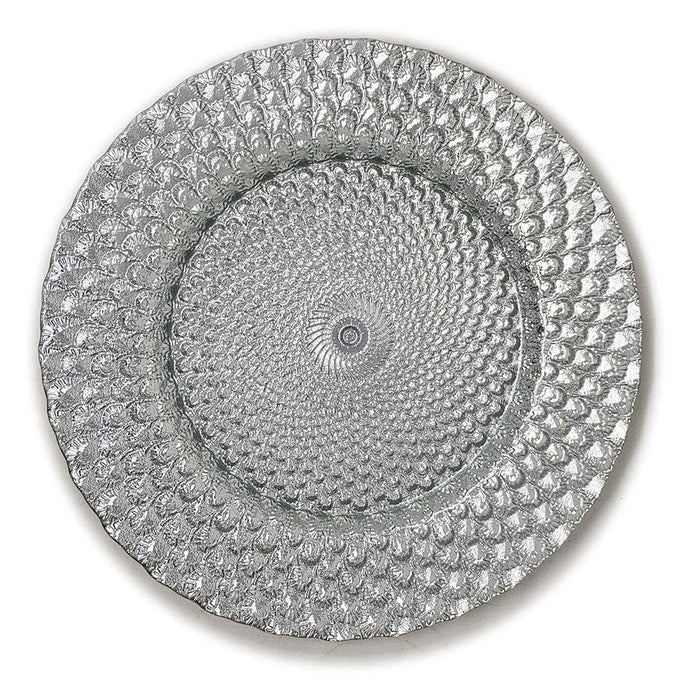 "Seashell Embossed Glass Dinnerware 13"" Round Charger Plate"