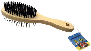 GoodPooch Double Side Grooming Brush Bristle & Pin Comb Wooden Handle Reduce Shedding Pet