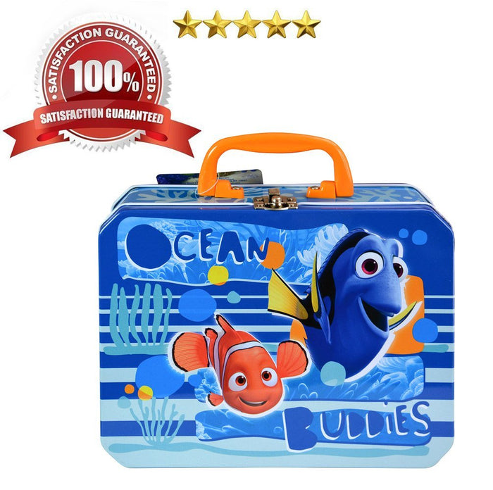 Finding Dory Pixar Ocean Buddies Dory and Nemo Sea Deluxe Rectangle Tin Lunch Box Bag Container Children's Kids