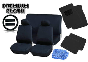 PREMIUM BLACK Universal Car Truck Seat Covers Full Set PLUSH 4pc Black Floor Mat Set Bonus Steering Wheel & Shoulder Pads + Free DETAILING WASHMITT - 18pcs