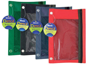 Bazic 3-Ring Pencil Pouch with a Mesh Window, Colors May Vary