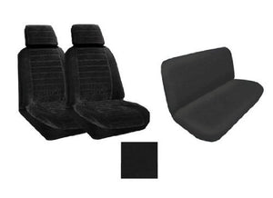 A Set of 2 Universal Fit Low Back Encore Pattern Front Bucket Seat Cover and One Universal Fit Encore Rear / Bench Seat Cover - Black