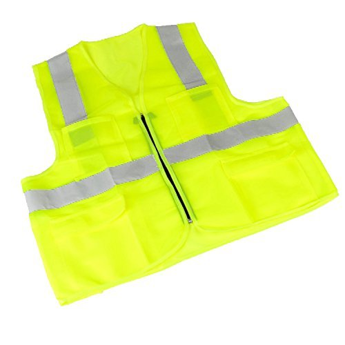 Premium Pocket Safety Zipper Vest Reflective Strips Universal Small Medium Large (Yellow)