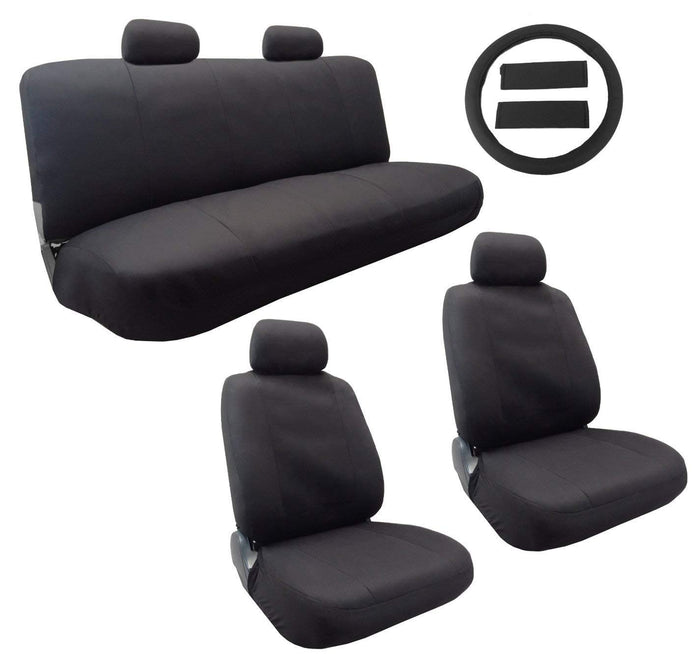 Classic Cloth Polyester Seat Cover Set Solid Black 13pc Set Front Pair Bench Steering Wheel Cover and Pads For Kia Soul