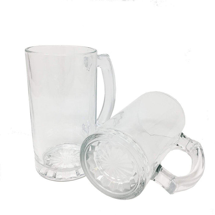 All Purpose Durable Large 16 oz.Heavy Duty Solid Pub Bar Glass Beer Mug with Starburst Thick Bottom Design (12)