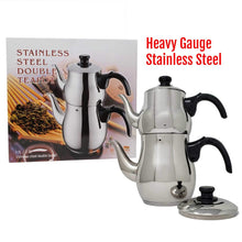 Load image into Gallery viewer, Turkish Samovar Double Tea Pot Kettle Water Boiler with Strainer (1 and 3 Liter)