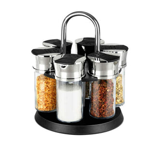 Rotating Herb Spice Jar Rack 6pc Glass Bottles Black Shaker Top Lids