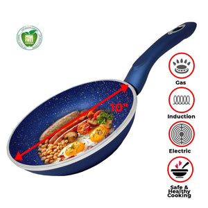 "10"" Non Stick Ceramic Heavy Duty Forged Aluminum Pans 4.5mm Thickness With Induction Bottom & Cool Touch Handle,Dishwasher Safe, PFOA,PTFE Free Works On All Stove Types- Blue, As Seen On TV"