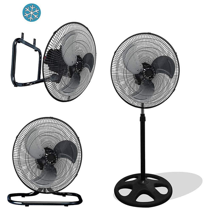 "Unique Imports Premium Large High Velocity Industrial Floor Fan 18"" Floor Stand Mount Oscillating - Cool Black & Silver"