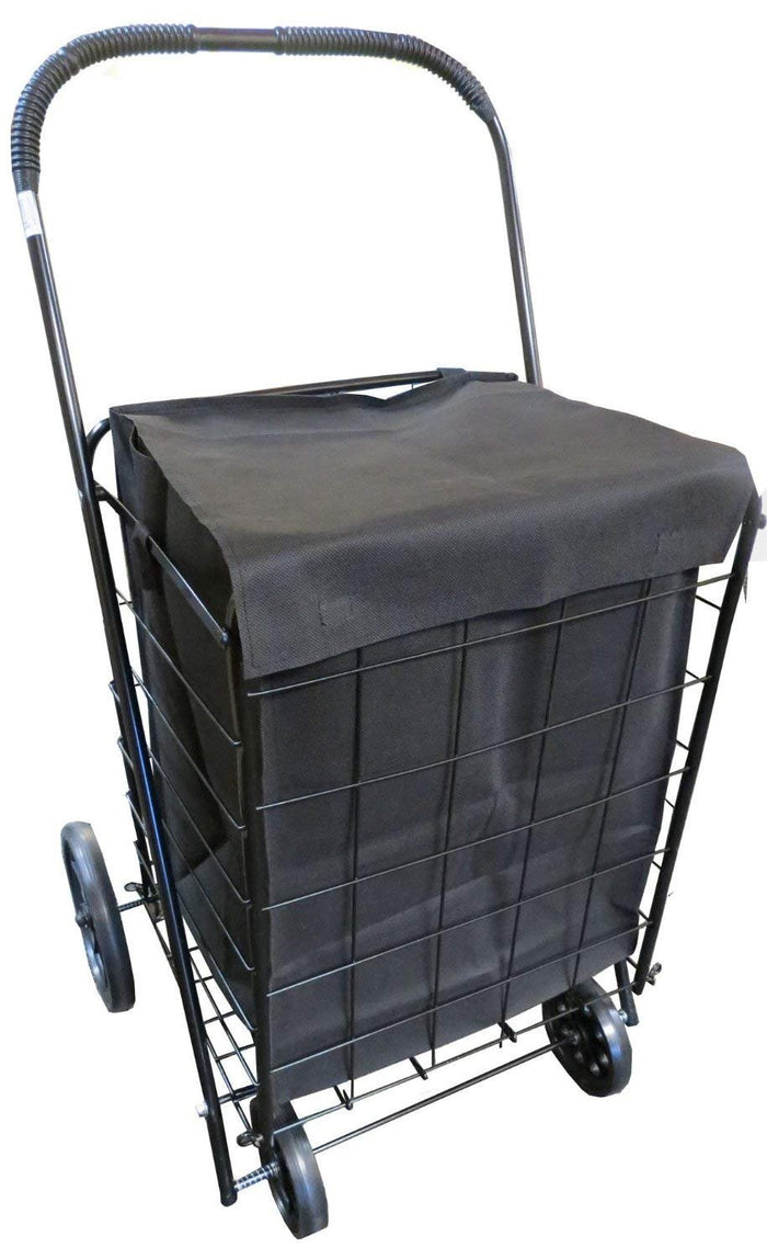 UPT Extra Large Heavy Duty Folding Shopping Laundry Storage Cart with Matching Black Liner Basket Cart Jumbo Size