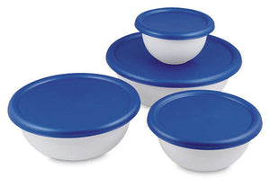 Multipurpose 8 Piece Covered Bowl Set With Lids for Storage,Transporting Food, Baking, Parties, Gatherings-BPA Phthalate Free-White Blue