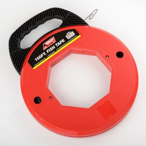 100 Ft Fish Tape Electrican Reel Pull Wires Cable Steel Hand Puller