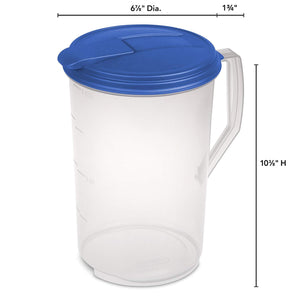 Sterilite 04884106 1 Gallon Round Pitcher, Blue Sky Lid & Tab with See-Through Base, 6-Pack